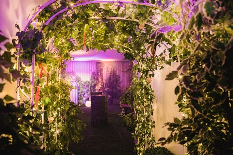 Enchanted forest fairylight tunnel