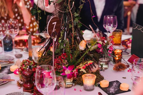 Enchanted forest table centres detail