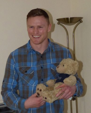 Ted with England Rugby player Chris Ashton