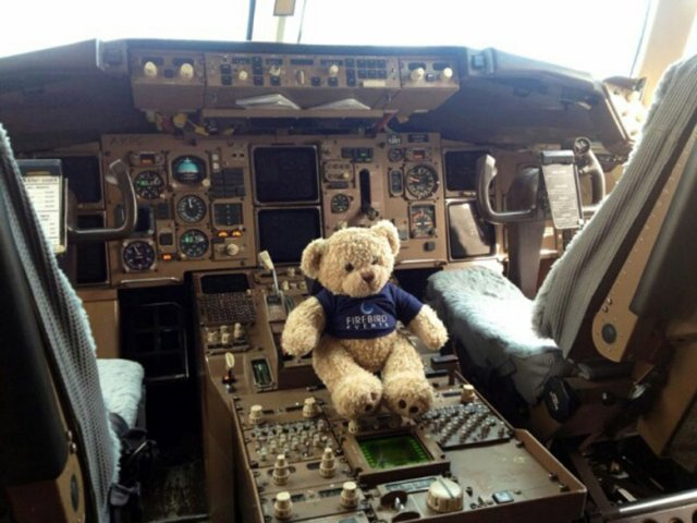 Ted in the cockpit of a Boeing airline