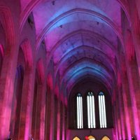 Magenta Uplighters at Guildford Cathedral