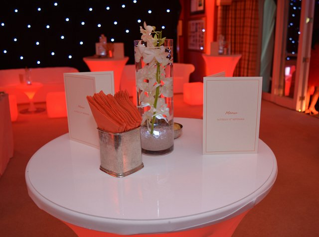 Orange LED Poseur tables