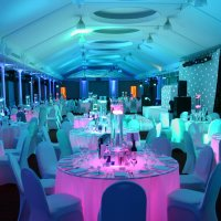 Funky LED Mirror Furniture to hire for weddings