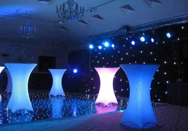 LED Poseur tables at Pennyhill Park Hotel