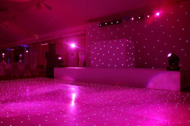 Hot Pink LED Dance Floor to hire for weddings